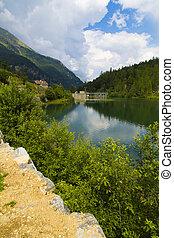 montagna, lago, colorito, vista
