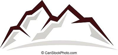 montagna, logotipo, disegno, sagoma, vettore
