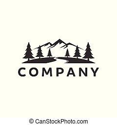 montagna, logotipo, ispirazione, con, fiume