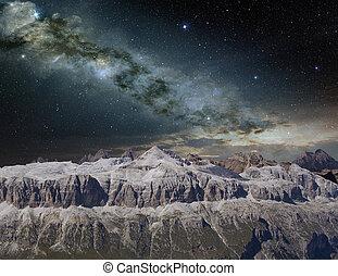 montagna, luminoso, paesaggio, modo, latteo