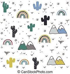 montagna, mano, modello, disegnato, arcobaleno, cactus