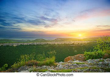 montagna, nature., composizione, paesaggio, sunset.