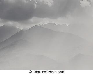 montagna, nero, creste, bianco, foschia, paesaggio