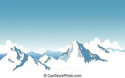 montagna, neve, fondo