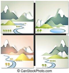 montagna, neve, valle fiume, fluente