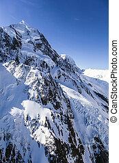 montagna, neve, vista elevata