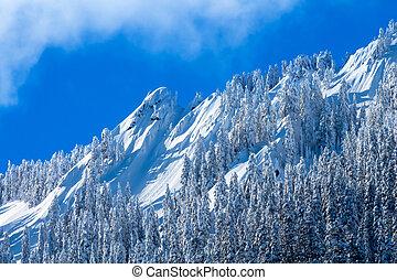 montagna, nevoso, washington, neve, mcclellan, cascata, ...