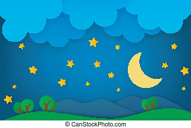 montagna, notte, paesaggio, fantasia