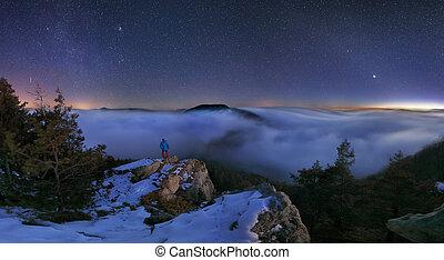 montagna, notte, paesaggio, panorama