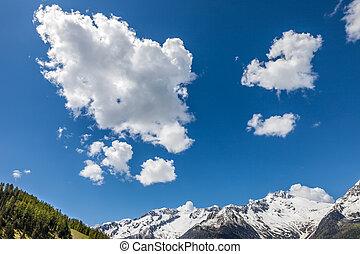 montagna, nubi, panorama, interessante
