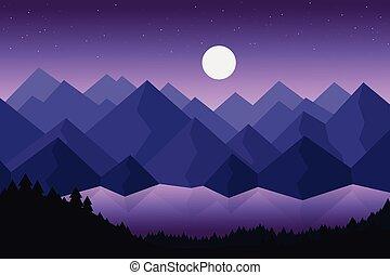 montagna, o, vettore, denso, riflessione, fiume, sotto, cielo, foreste, superficie, lago, dietro, drammatico, illustrazione, stelle, luna viola, cartone animato, paesaggio