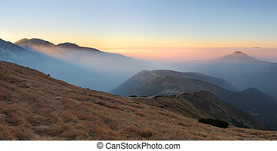montagna, ovest, hight, rohace, tatra., raggio sole