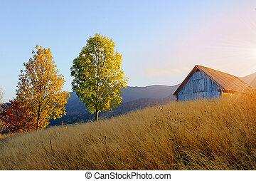 montagna, paesaggio autunno