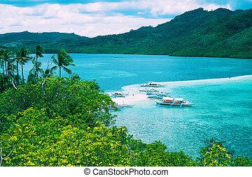montagna, paesaggio, baia, tropicale, mare, Isole