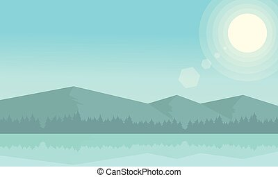 montagna, paesaggio fiume, mattina