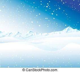 montagna, paesaggio, nevoso
