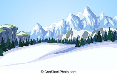 montagna, paesaggio.
