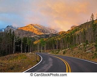 montagna, parco nazionale, roccioso, alba
