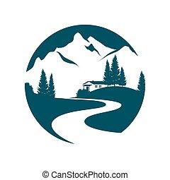 montagna, pictogramm, paesaggio