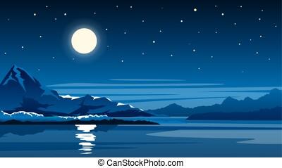 montagna, pieno, lago, notte, luna