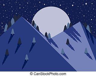 montagna, pieno, sky., luna, stellato, appartamento, vettore, illustrazione, notte, style., paesaggio