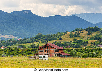 montagna, piovoso, paesaggio, romania