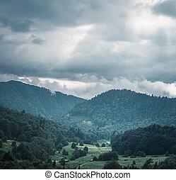 montagna, piovoso, valle, weather.