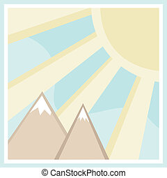 montagna, quadrato, scena