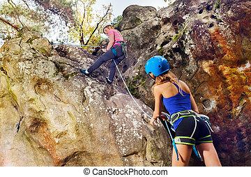 montagna, raggiungimento, giovane, cima, scalatore pietra