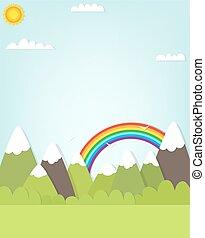 montagna, rainbow., paesaggio