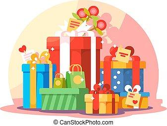 montagna, regalo, colorito, grande, scatole, luminoso, involvere