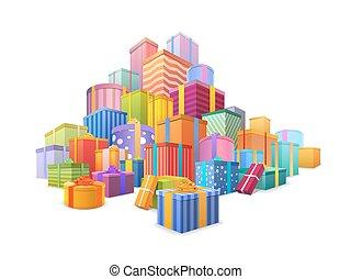 montagna, regalo, grande, isolato, boxes., presenta, molti, involvere, bianco