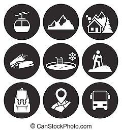 montagna, ricreazione, icone