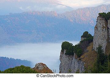 montagna, roccioso, autunno, scena