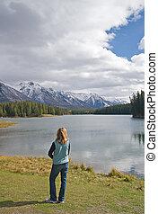 montagna, roccioso, lago