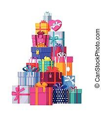 montagna, scatole, bianco, regalo, colorito
