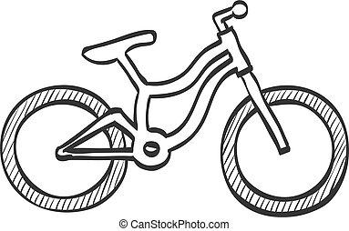 montagna, schizzo, bicicletta, -, icona