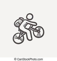 montagna, schizzo, cavaliere bicicletta, icona