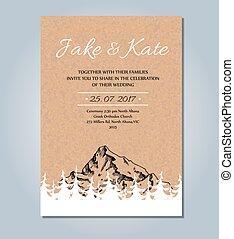 montagna, schizzo, rustico, invitation., vettore, matrimonio, template., scheda