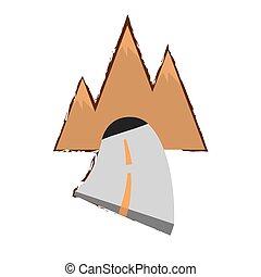 montagna, schizzo, tunnel, viaggi colore, strada