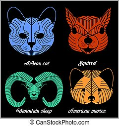 montagna, scoiattolo, set, logos., sheep, andino, gatto,...