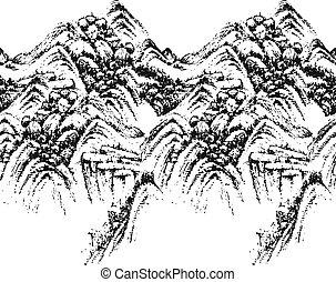 montagna, seamless, modello