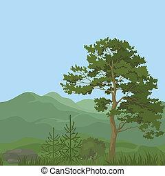 montagna, seamless, paesaggio, albero