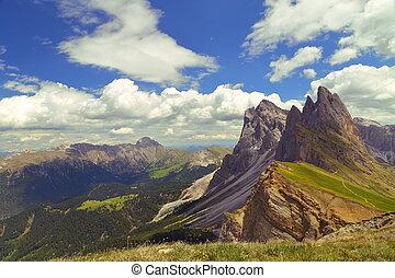 montagna, seceda, italia, dolomiti