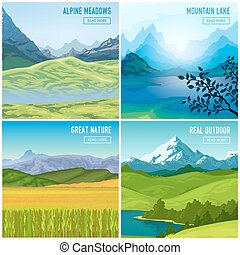 montagna, set, compositions, paesaggio