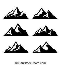 montagna, set, icone, fondo., vettore, bianco