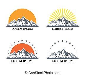 montagna, set, icone