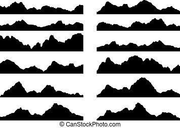 montagna, set, silhouette, vettore, nero, bianco