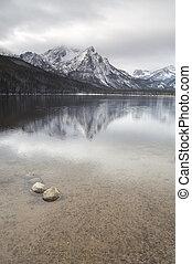 montagna, settentrionale, sawtooth, rockies, lago, serie,...