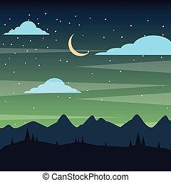 montagna, silhouette, cielo stellato, notte, paesaggio